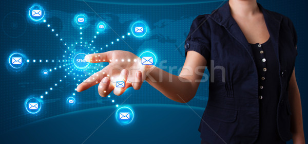 Mulher virtual mensagens tipo ícones Foto stock © ra2studio