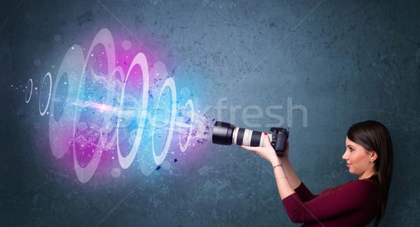 カメラマン 少女 写真 パワフル 光 ストックフォト © ra2studio