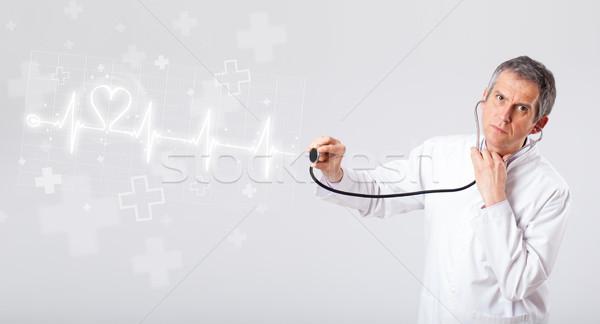 Orvos szívdobbanás absztrakt szív férfi orvosi Stock fotó © ra2studio