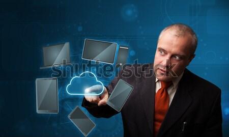Işadamı dokunmak yüksek teknoloji bulut hizmet ayakta Stok fotoğraf © ra2studio