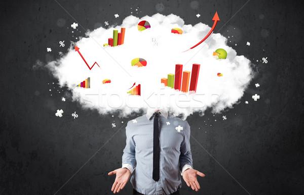 現代 ビジネスマン グラフ 雲 頭 ビジネス ストックフォト © ra2studio