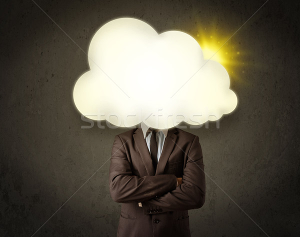 Young business man in shirt and tie with a sunny cloud head Stock photo © ra2studio