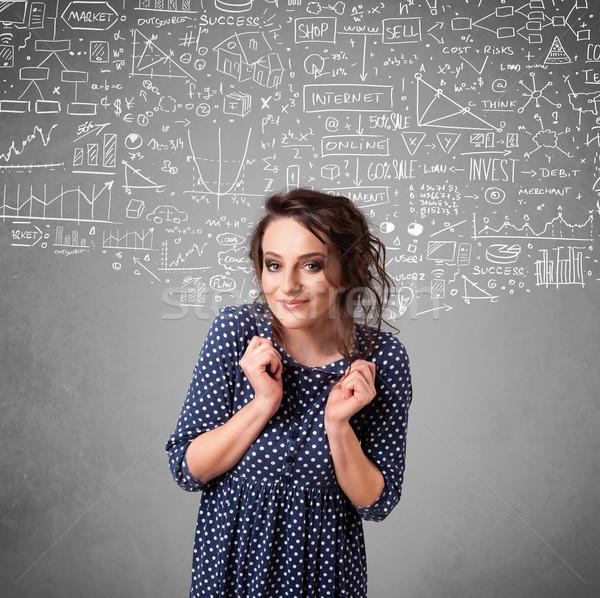 Fiatal csinos hölgy kézzel rajzolt ikonok fehér Stock fotó © ra2studio