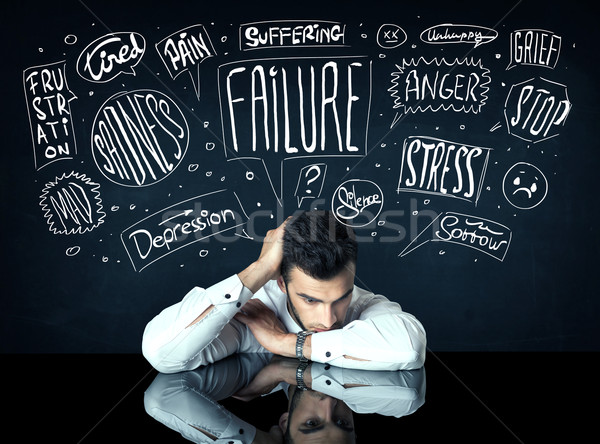 Depressief zakenman vergadering moeite dacht dozen Stockfoto © ra2studio