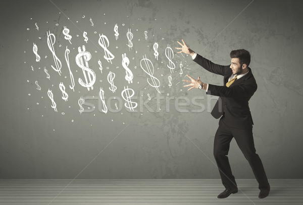 小さな ビジネスの方々  手描き ドル記号 男 背景 ストックフォト © ra2studio