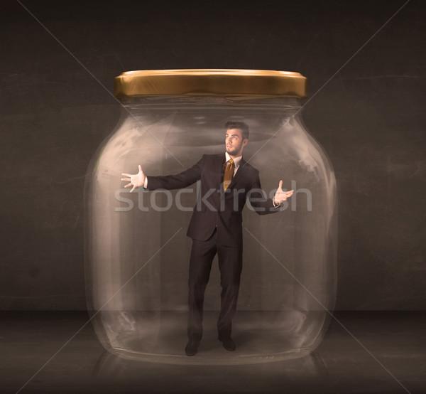 Biznesmen zamknięty szkła jar człowiek przestrzeni Zdjęcia stock © ra2studio