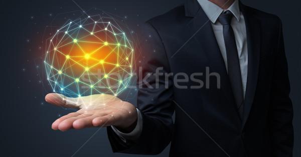 Businessman holding global connection concept  Stock photo © ra2studio