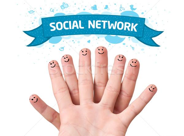 Parmak suratlar sosyal ağ imzalamak mutlu aile Stok fotoğraf © ra2studio