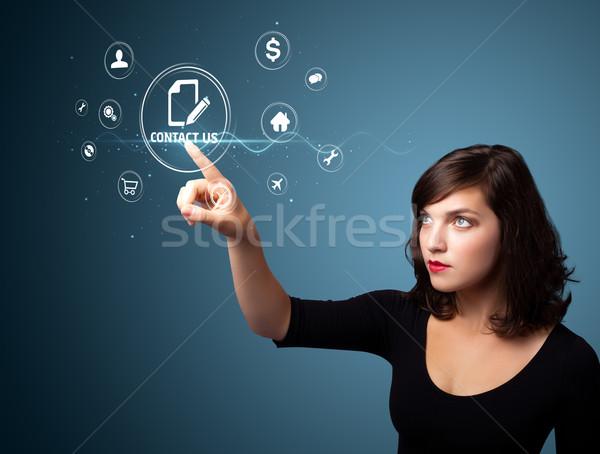 Stock fotó: üzletasszony · kisajtolás · virtuális · üzenetküldés · ikonok