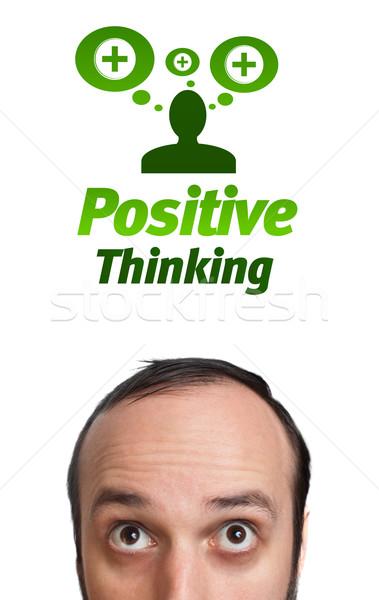 молодые голову глядя положительный негативных признаков Сток-фото © ra2studio
