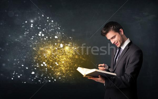 Fiatal fickó olvas varázslatos könyv iskolatábla Stock fotó © ra2studio