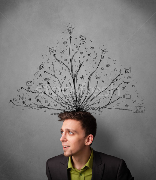 Businessman with tangled lines coming out of his head Stock photo © ra2studio
