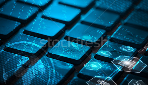 Tastatur glühend Multimedia Symbole Computer-Tastatur Welt Stock foto © ra2studio