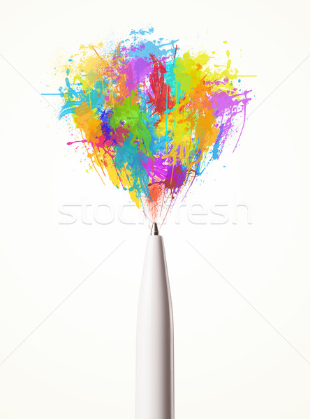 Paint splashes coming out of pen Stock photo © ra2studio