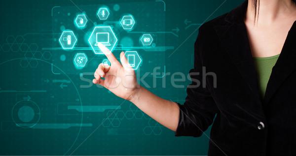Lány kisajtolás virtuális média gombok Stock fotó © ra2studio