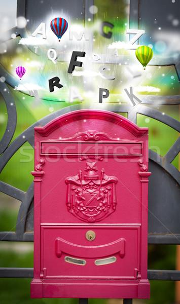 Post vak kleurrijk brieven abstract papier Stockfoto © ra2studio
