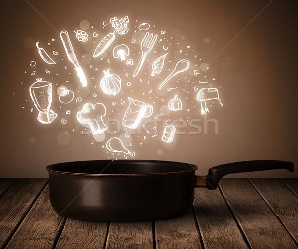 Főzés ikonok ki lábas fényes egészség Stock fotó © ra2studio