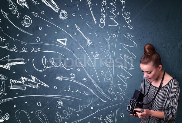 Fotós lövöldözés képek energikus kézzel rajzolt vonalak Stock fotó © ra2studio