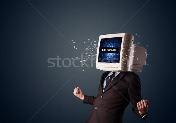 Man monitor hoofd geen signaal teken Stockfoto © ra2studio