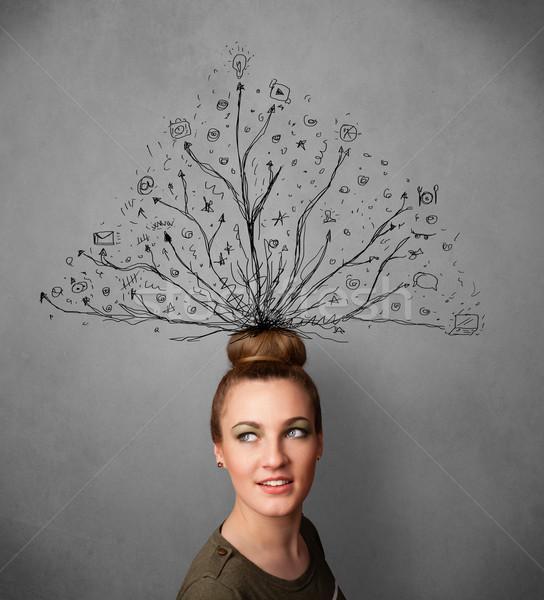 Jeune femme lignes sur tête joli pense Photo stock © ra2studio