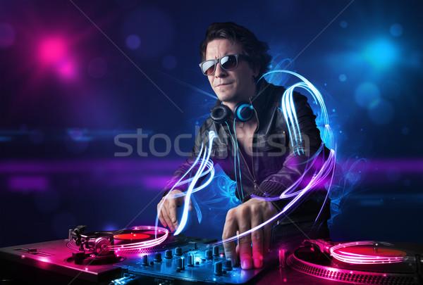 Dídzsé játszik zene fényeffektusok fények fiatal Stock fotó © ra2studio