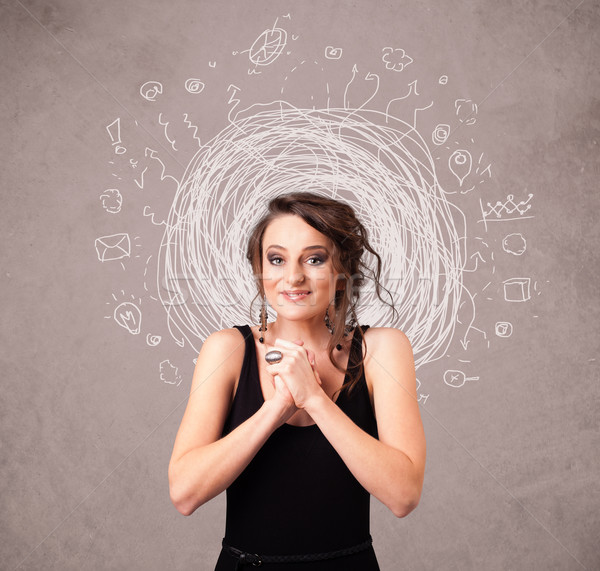 Pretty young girl with abstract circular doodle lines and icons Stock photo © ra2studio