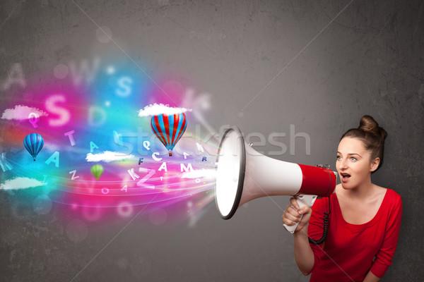Lány kiált megafon absztrakt szöveg léggömbök Stock fotó © ra2studio