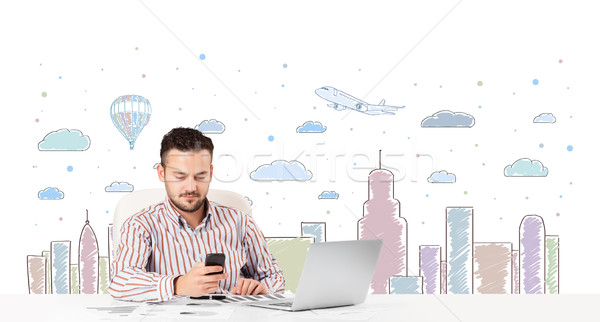 Attractive businessman with city sky-scape background Stock photo © ra2studio