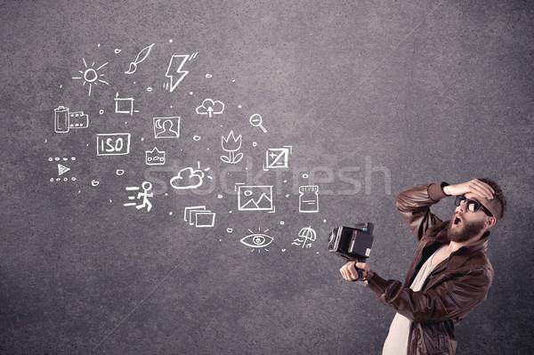 Stockfoto: Elegante · vent · baard · leren · fotografie