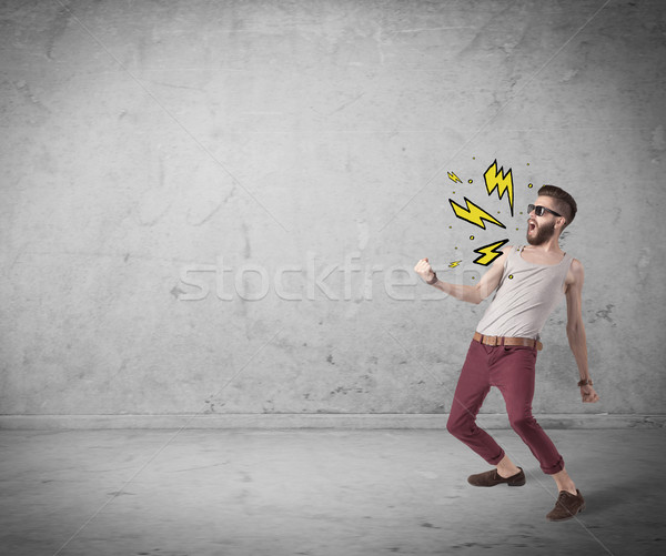 Komik moda giyim öfkeli Stok fotoğraf © ra2studio