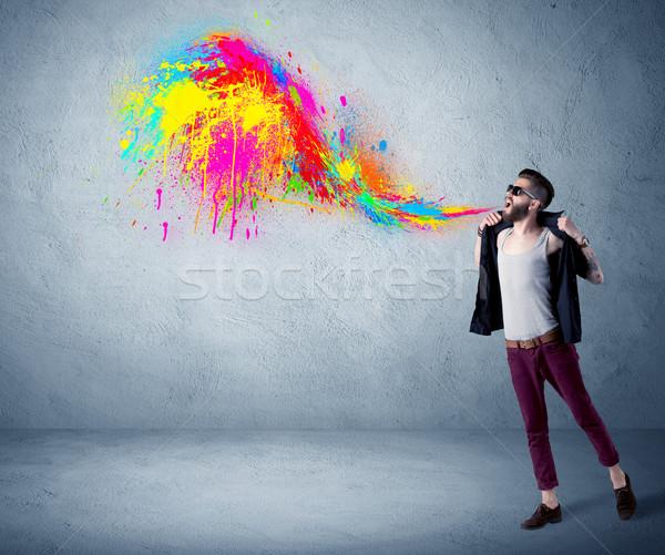 Vent kleurrijk verf muur Stockfoto © ra2studio