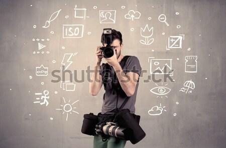 Stockfoto: Fotograaf · leren · camera · amateur · hobby · professionele