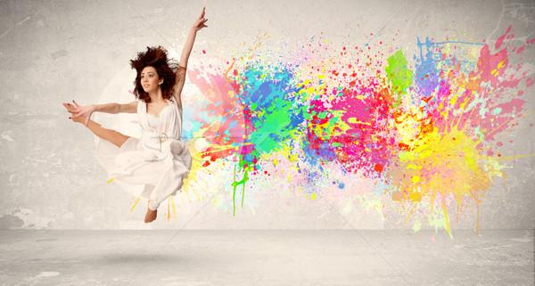 幸せ 代 ジャンプ カラフル インク スプラッタ ストックフォト © ra2studio