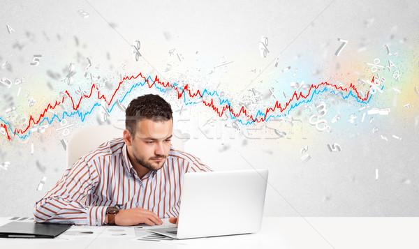 üzletember ül asztal tőzsde grafikon 3D Stock fotó © ra2studio