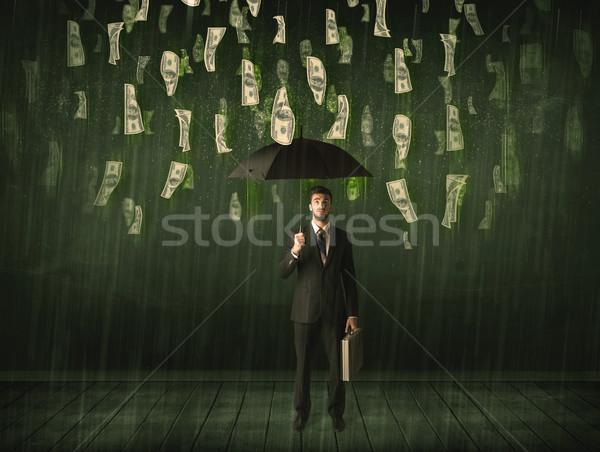 Photo stock: Affaires · permanent · parapluie · dollar · Bill · pluie