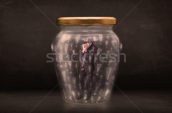 üzletember csapdába esett bögre üzlet üveg űr Stock fotó © ra2studio