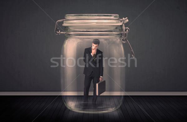 Empresario atrapado vidrio jar espacio nino Foto stock © ra2studio