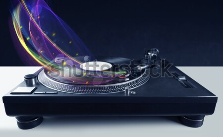 Turntable jouer vinyle résumé lignes Photo stock © ra2studio