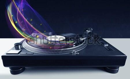 Prato giratório jogar vinil abstrato linhas Foto stock © ra2studio