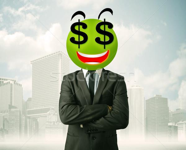 Foto stock: Hombre · signo · de · dólar · cara · sonriente · empresario · negocios · feliz
