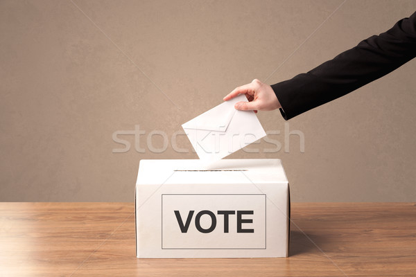 Erkek el oy oylama kutu Stok fotoğraf © ra2studio