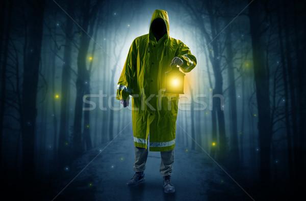 Gizemli adam yol orman lan Stok fotoğraf © ra2studio