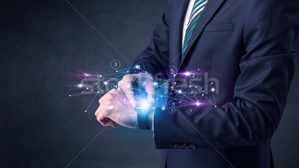 Stockfoto: Netwerken · man · hand · technologie · zakenman