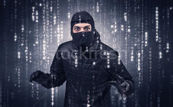 Włamywacz działania narzędzia strony człowiek tle Zdjęcia stock © ra2studio