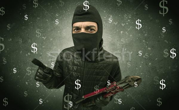 Dinheiro faminto ladrão preto roupa mão Foto stock © ra2studio