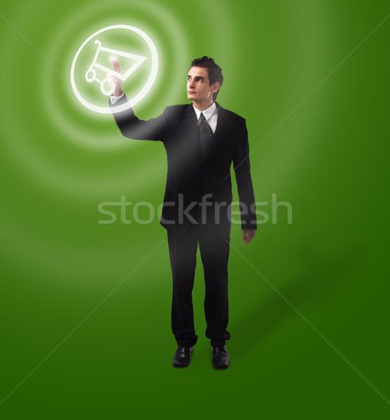 деловой человек кнопки Корзина футуристический цифровая технология Сток-фото © ra2studio