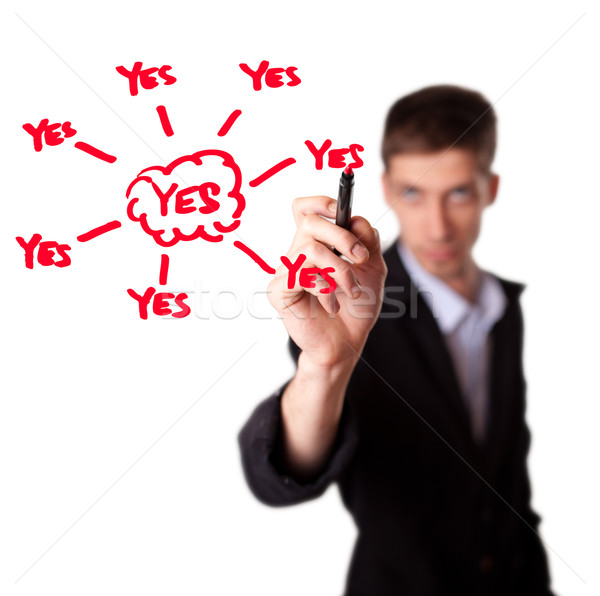 Young businessman decide for positive decision Stock photo © ra2studio