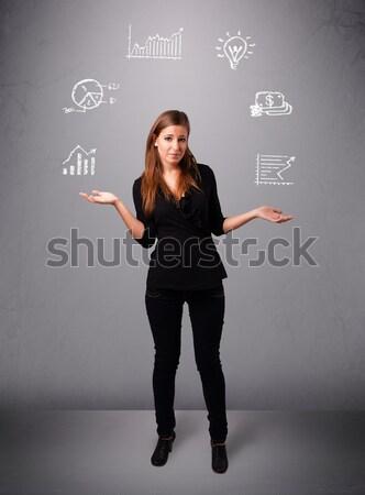 Gyönyörű fiatal hölgy zsonglőrködés copy space áll Stock fotó © ra2studio