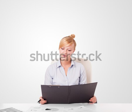 Young businesswoman with plain white copy space Stock photo © ra2studio