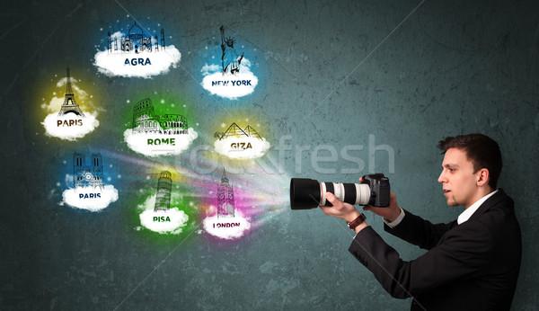 Tourist photographer boy making images of famous places around the world Stock photo © ra2studio